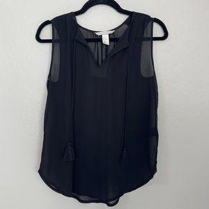 H&M Conscious Black Sheer V-Neck Tank Top w Tassels Size 2